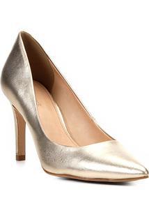 Scarpin Couro Shoestock Salto Alto Metalizado - Feminino-Dourado