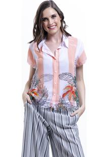 Camisa Estampada 101 Resort Wear Chifon Floral Listrada Rosa