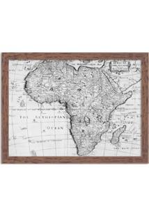 Quadro Decorativo Mapa Mundi Africa Preto E Branco Madeira - Médio