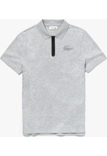 Camisa Polo Lacoste Sport Regular Fit Masculina - Masculino-Cinza+Preto
