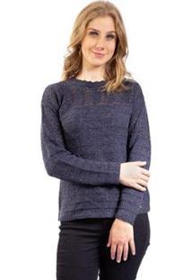 Blusa De Malha Com Pontos Vazados Sumaré Feminina - Feminino-Azul