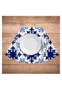 Jogo Americano Para Mesa Redonda Wevans Ladrilhos Azuis Kit Com 4 Pçs
