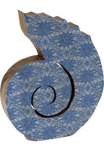Concha Espiral Decor Grouperativa Em Madeira Rústica 26Cm - Grouper