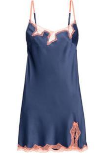 Camisola Curta Sem Manga Cetim Bella Luna Azul