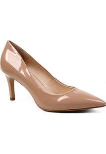 Scarpin Shoestock Verniz Salto Médio Naked - Feminino-Noz