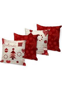 Kit 4 Capas Para Almofadas Love Decor Decorativas Merry Christmas