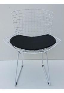 Cadeira Bertoia Pintada Branco Assento Preto - 22067 Sun House