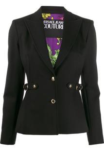 Versace Jeans Couture Blazer De Alfaiataria Com Cinto - Preto