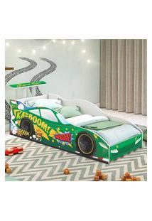 Cama Solteiro Carro Aerofólio Verde Casah