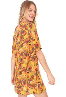 Vestido Cantão Curto Nuvem Amarelo/Vinho