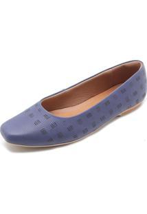 Sapatilha Couro Usaflex Textura Azul-Marinho