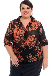 Camisa Martingale Floral Black Plus Size