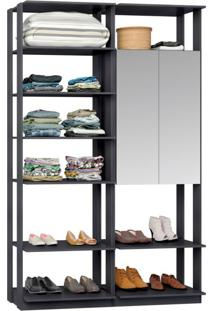 Guarda-Roupa Solteiro Modulado Clothes Ii Com Espelho 2 Pt Espresso