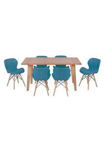 Conjunto Mesa De Jantar Em Madeira 150X80 Vértice + 6 Cadeiras Slim - Turquesa