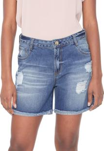 Short Jeans Dudalina Destroyed Azul