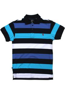Camisa Simple Skateboard Gola Polo Waves Azul