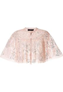 Needle & Thread Blusa Cropped Com Paetês - Rosa