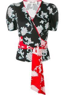 Dvf Diane Von Furstenberg Floral Print Wrap Blouse - Preto