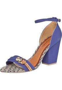 Sandália Crysalis Veneto Azul/Caramelo/Dourado