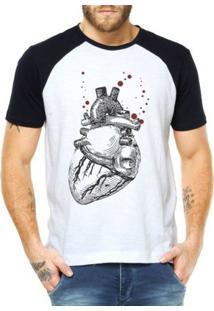 Camiseta Raglan Criativa Urbana Coração Realista - Masculino-Branco