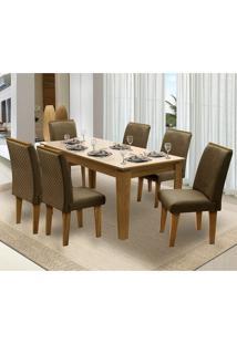 Mesa Para Sala De Jantar Saint Michel Com 6 Cadeiras – Dobuê Movelaria - Mell / Bege / Cacau