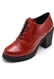 Bota Ankle Boot Em Couro E Verniz Leigam Vermelha