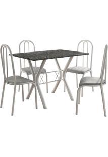 Conjunto De Mesa Miami 4 Cadeiras Branco/Vegetale Fabone