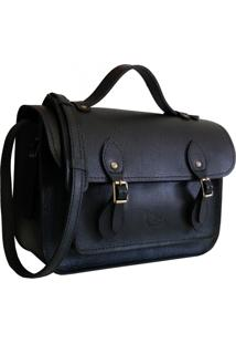 Bolsa Line Store Leather Satchel Pequena Couro Preto. - Kanui