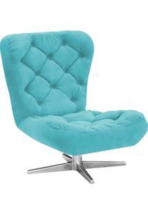 Poltrona Decorativa Botonê Iris Suede Azul Tiffany Com Base Estrela Giratória Aço Cromado - D'Rossi