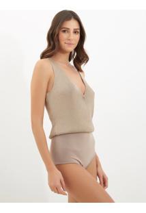 Body Le Lis Blanc Natalie Ii Tricot Prata Feminino (Silver, Gg)