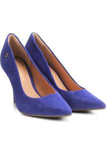 Scarpin Via Uno Salto Alto Bico Fino - Feminino-Azul Escuro