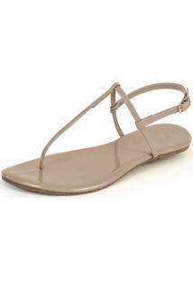 Rasteira Mercedita Shoes Verniz Areia