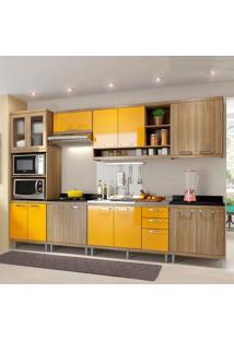 Cozinha Completa Sem Tampo 15 Portas 5834 Argila/Amarelo - Multimóveis