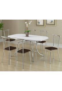 Mesa 1507 Branca Cromada Com 6 Cadeiras 154 Cromada Cacau Carraro