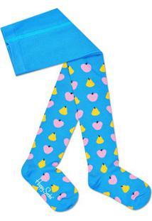 Meia Calça Frutinhas- Azul Claro & Amarelahappy Socks