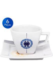 Conjunto De Xícaras Para Chá Com Pires 6 Peças Nara Focus - Oxford - Branco / Azul