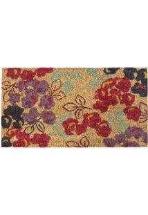 Capacho Floral- Bege & Vermelho- 60X33Cm- Agi Taagi Tapetes