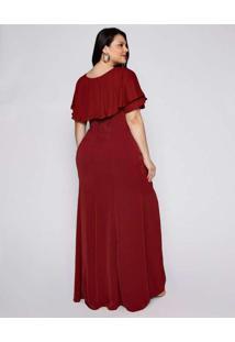 Vestido Almaria Plus Size Pianeta Longo Crepe Roxo