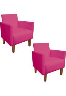 Kit 02 Poltrona Decorativa Compacta Jade Corino Pink Com Pés Castanho - D'Rossi