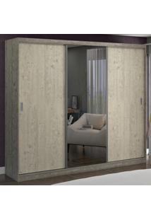 Guarda-Roupa Casal 3 Portas Com 1 Espelho 100% Mdf 1903E1 Demol/Marfim Areia - Foscarini