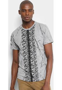 Camiseta Overcore Estampada Masculina - Masculino-Cinza Claro