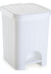 Lixeira Para Banheiro De Plã¡Stico 12 Litros Com Pedal Branca - Transparente - Dafiti