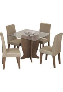 Conjunto Mesa De Jantar Luana 1,00M Com 4 Cadeiras Milena Marrocos Tecido Caramelo Cimol