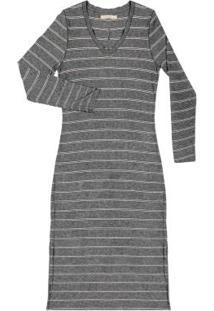 Vestido Feminino Midi Listrado Cinza