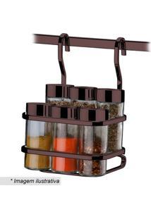Conjunto De Porta Condimentos & Suporte- Incolor & Bronzfuture
