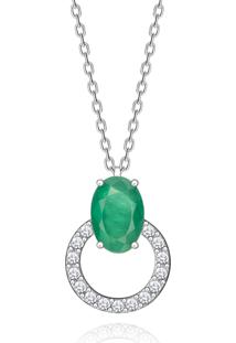 Pingente Em Ouro Branco 18K Com Diamante, Esmeralda