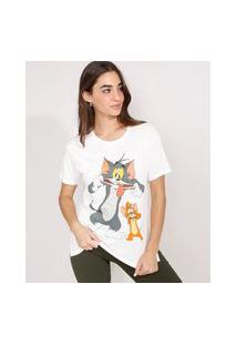 Camiseta Tom E Jerry Manga Curta Decote Redondo Off White