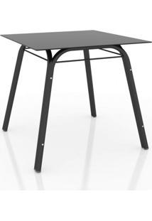 Conjunto Sala De Jantar Mesa Lotus Tampo De Vidro Preto E 4 Cadeiras Artefamol Preto/Platina
