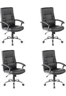 Conjunto Com 4 Cadeiras De Escritório Presidente Giratórias Office Plus Preto