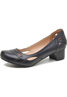Sapato Retrô Salto Quadrado Dhl Feminino Preto - Kanui
